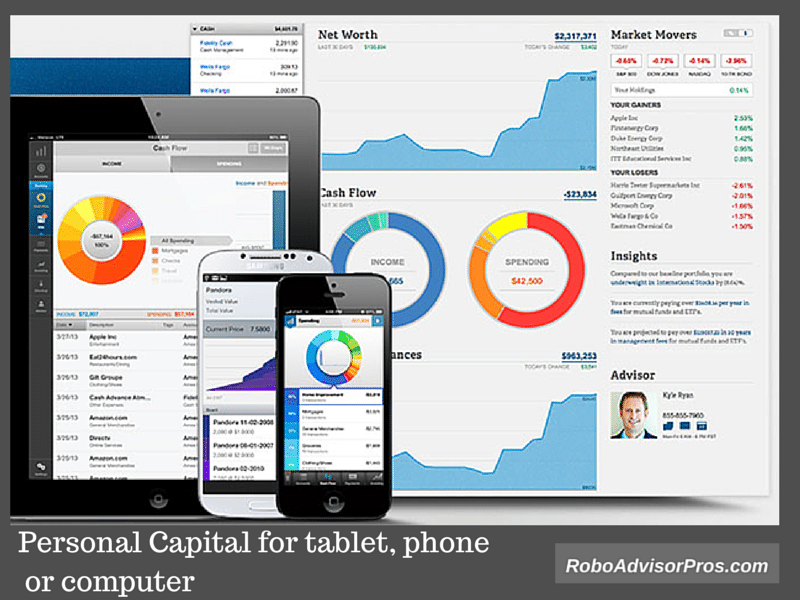 Personal Capital dashboard for tablet, phone and computer