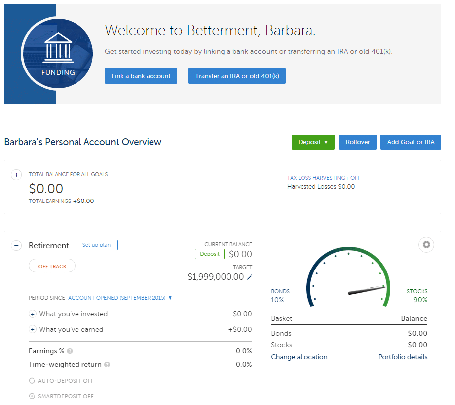 unfunded betterment dashboard