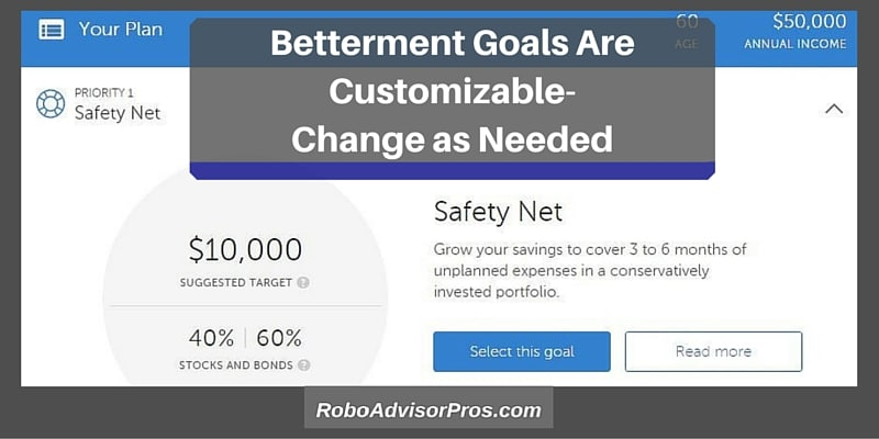 Betterment Safety Net Goal