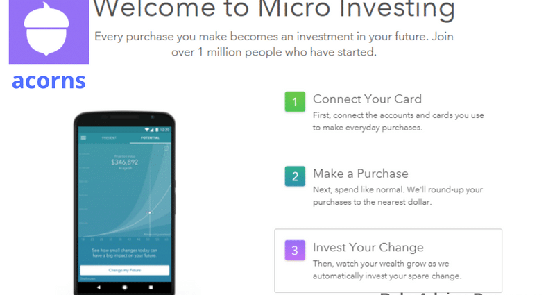 Acorns review app. Acorns robo-advisor for small investors.