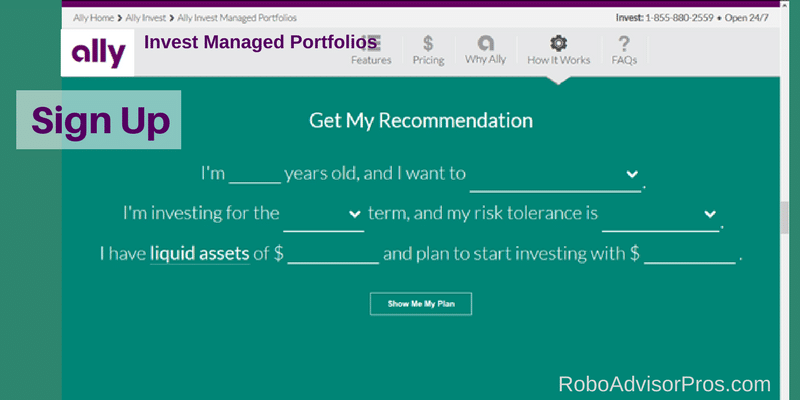 Ally Invest Managed Portfolios Sign Up Screen Questions