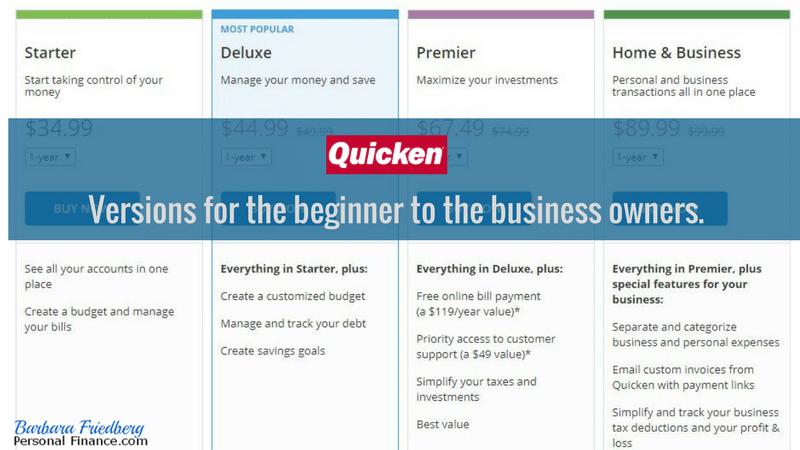 Personal Capital vs. Quicken - Quicken options