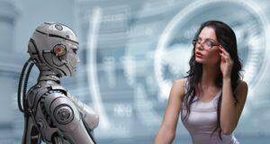 robot and woman