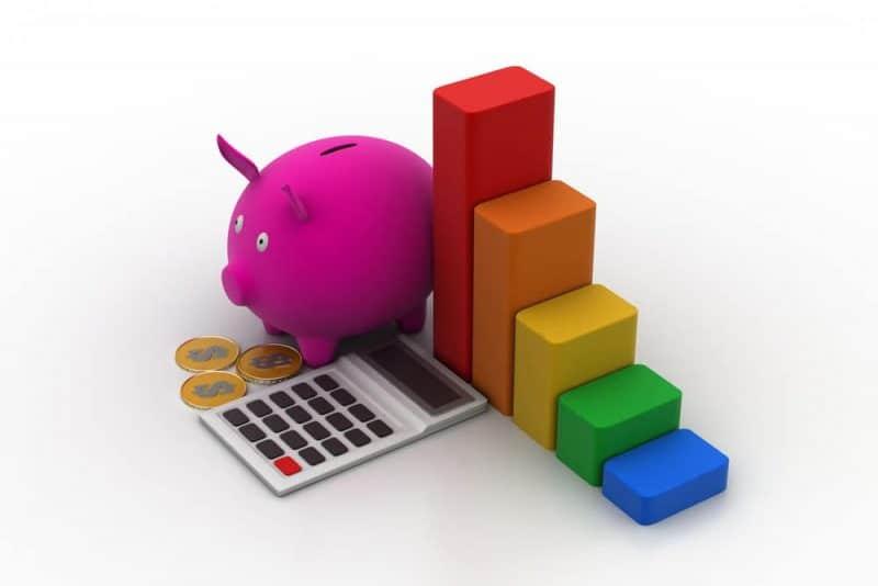 calculator - piggy bank - growth graph