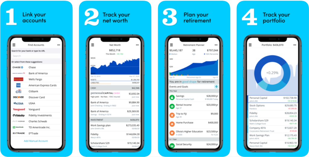personal capital screenshots from the app- link accounts -track net worth - plan retirement